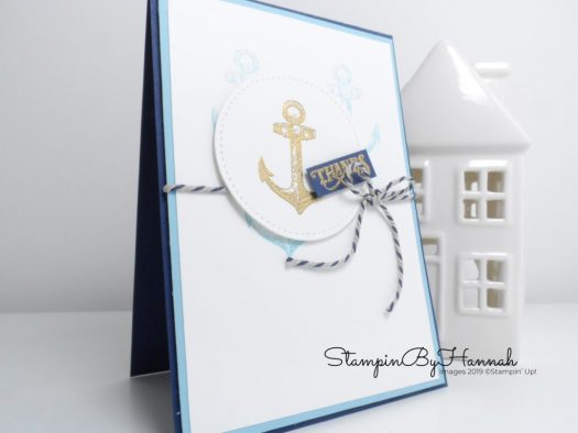 Male thanks card using Sailing Home from Stampin' Up! with StampinByHannah