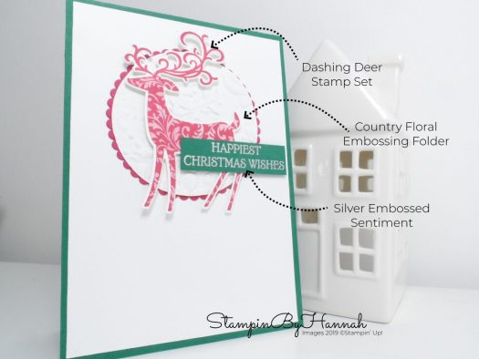 How to make a fun hand stamped Christmas card using Dashing Deer from Stampin' Up! with StampinByHannah