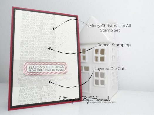 How to create a fun handstamped Christmas card using Merry Christmas to all from Stampin' Up! with StampinByHannah