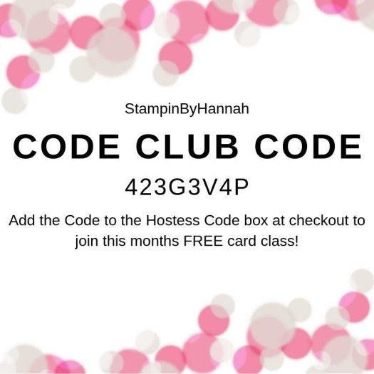 StampinByHannah Stampin' Up! Code Club Free cardmaking class August 2019