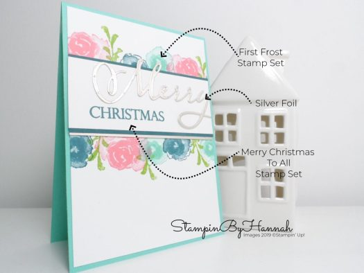 How to make a non traditional Christmas card using First Frost from Stampin' Up! with StampinByHannah