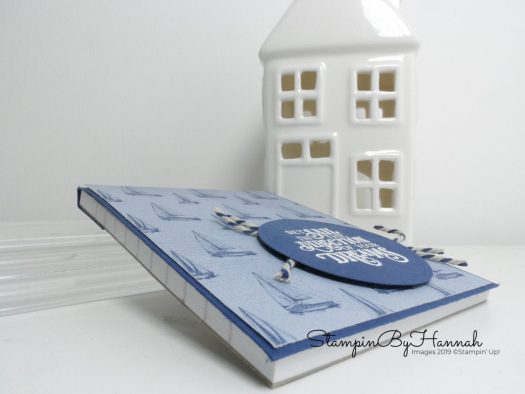 Jotter notebook cover using Come Sail Away Designer Series Paper from Stampin' Up! with StampinByHannah