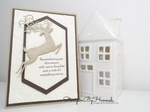 Sparkly Christmas Card using Dashing Deer from Stampin' Up! with StampinByHannah