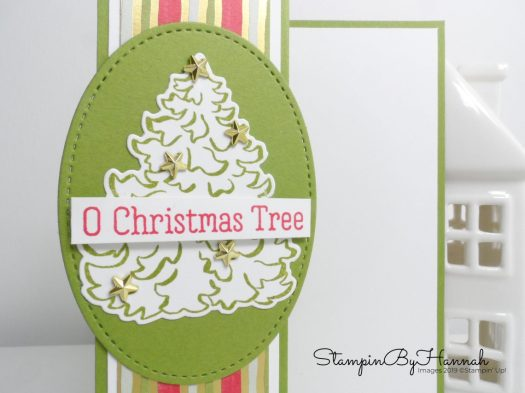 Oh Christmas Tree Fancy Fold Card using Most Wonderful Time from Stampin' Up! with StampinByHannah