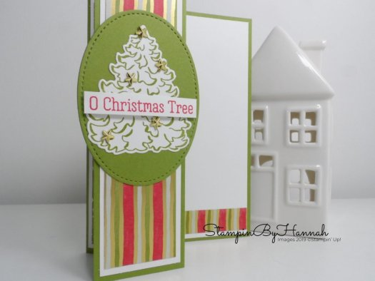 Oh Christmas Tree Fancy Fold card using Stampin' Up! products with StampinByHannah