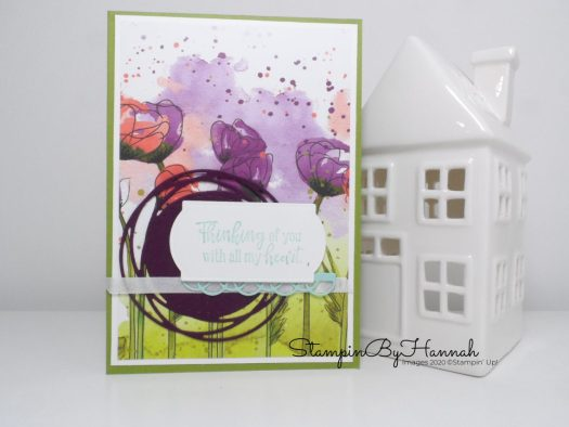 Thinking of you card using Peaceful Poppies from Stampin' Up! with StampinByHannah