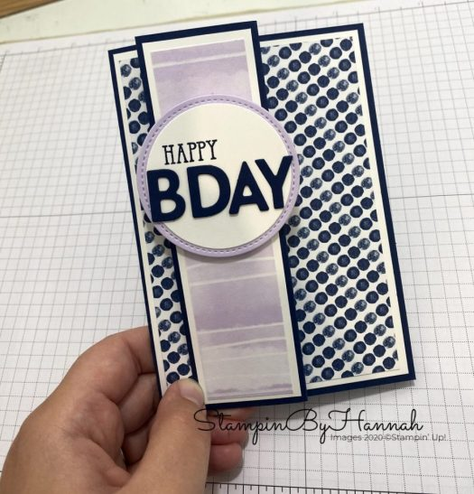 Playing with Patterns Z Fold happy Birthday card using Stampin' Up! Playful Alphabet dies with StampinByHannah