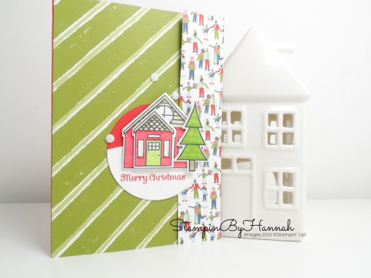 Merry Christmas Card using Trimming the Town Designer Series Paper from Stampin' Up! with StampinByHannah