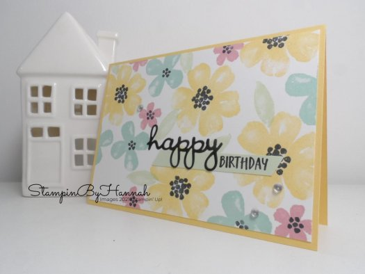 Handstamped birthday card using Pretty Perennials from Stampin' Up! with StampinByHannah