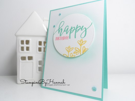 Quick and Simple Happy Birthday card using Pretty Perennials from Stampin' Up! for Inspire.Create.Challenge with StampinByHannah