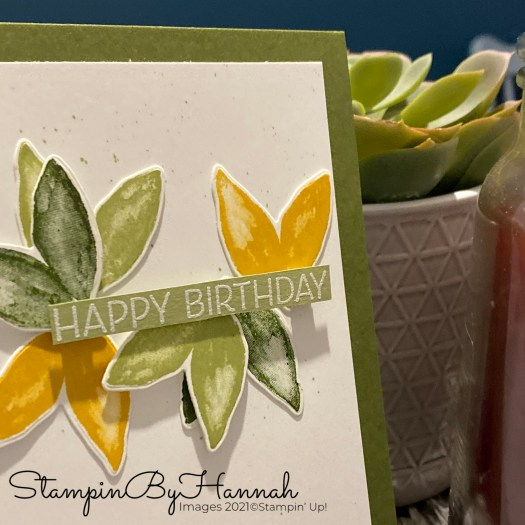 Leafy Birthday Card using Artistically Inked from Stampin' Up! with StampinByHannah