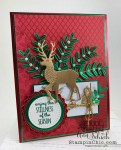foil stag and leaves holiday card