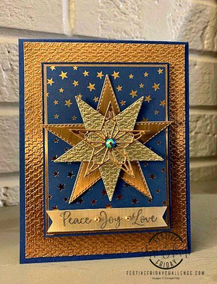 metallic stars holiday card