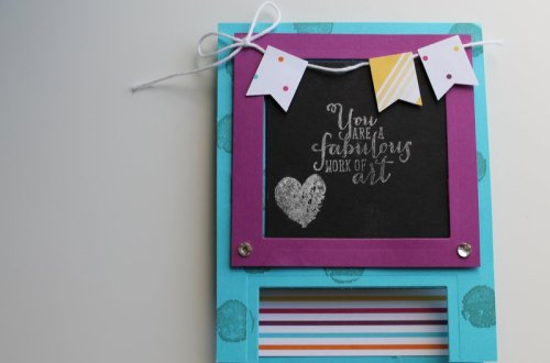 Stampin' Fool | 12 Days of Back to School Crafts: Chalkboard Easel Post it card, Sweet Taffy DSP, Work of Art stamped in Silver, Banner Punch, Chalkboard Card