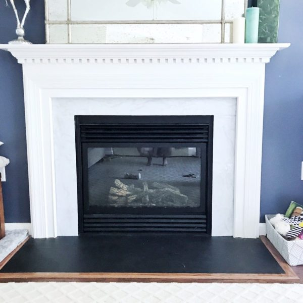 DIY Marble Contact Paper Fireplace Update from StampinFool.com