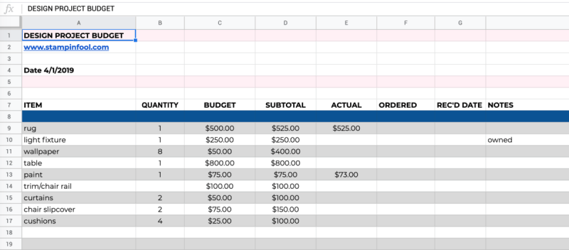FREE Budget Spreadsheet for your next interior design project from StampinFool.com | Williamsburg, VA
