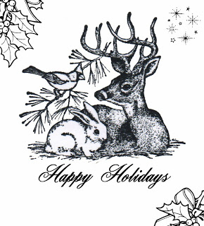 Freebie: Woodland Animals Holiday Digi Stamp