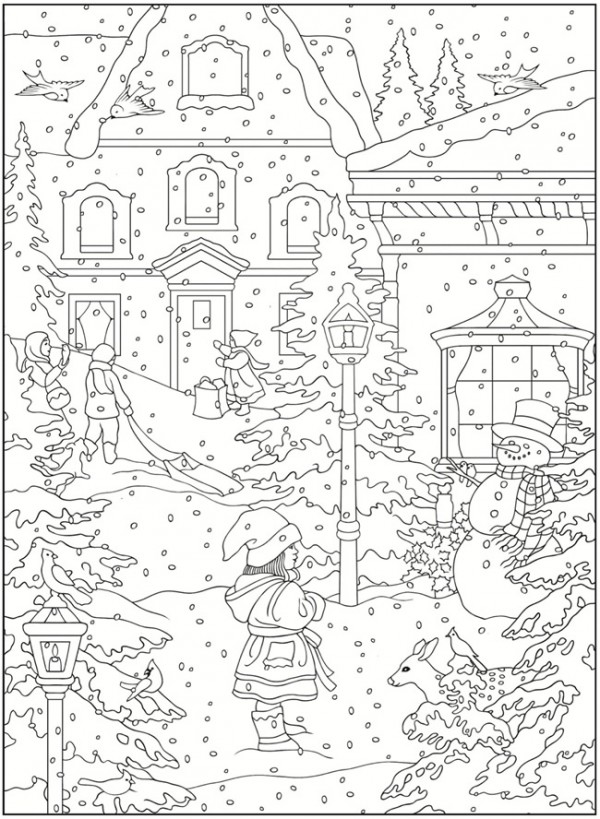 Freebie winter coloring pages stamping for Winter holiday coloring pages