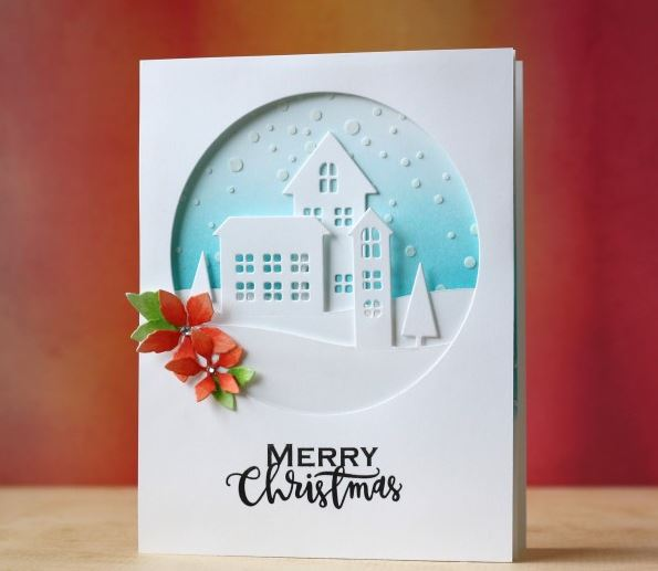 Project: Winter Village Card with Stenciled Snow Technique