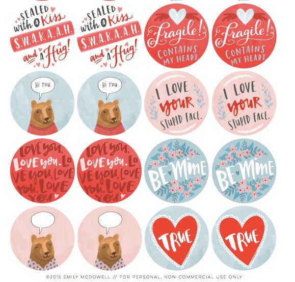 freebie valentines day stickers and labels