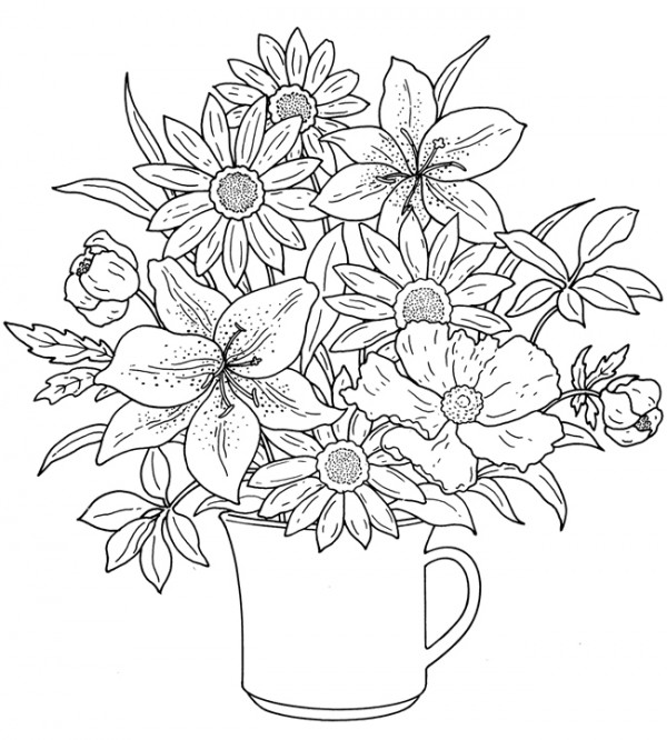 Freebie spring flowers image stamping for Spring flowers coloring pages printable