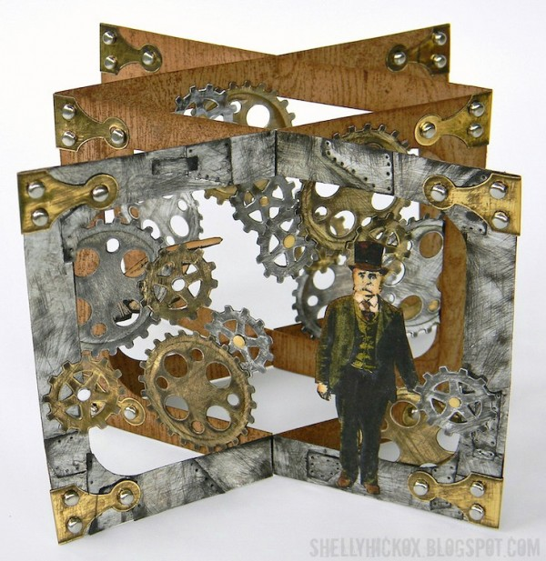 Project: Masculine Steampunk Style Pop-Up Card