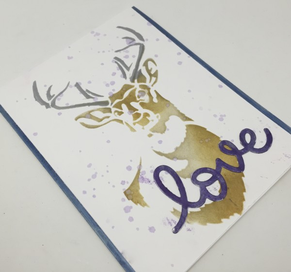 Project: Deer Card made with Metallic Pens and Stencils