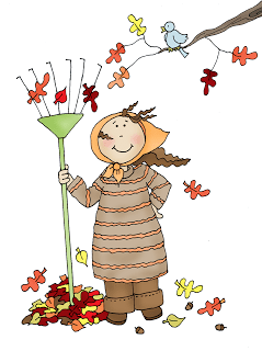 Freebie: Raking Leaves Digital Stamp