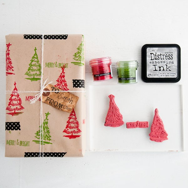 Tutorial: Stamped and Embossed Gift Wrap