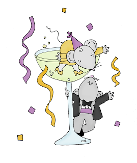 Freebie: New Years Mice Digi Stamp