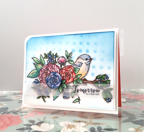 Project and Technique: Stamped Bird Card with Masking
