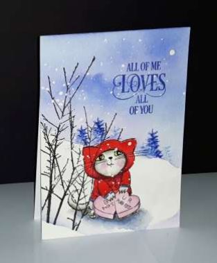 Project Winter Kitty Valentine Day Card