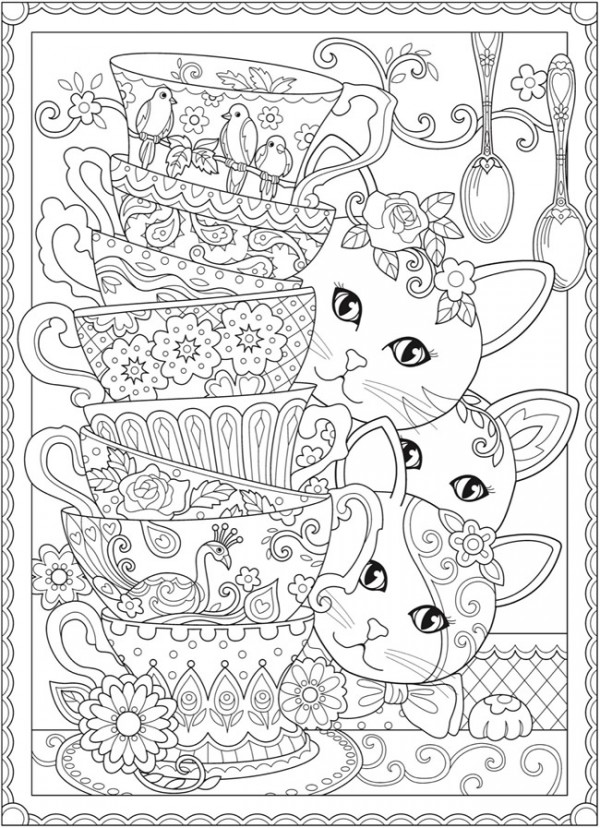 Download: Cats and Tea Cups Coloring Page