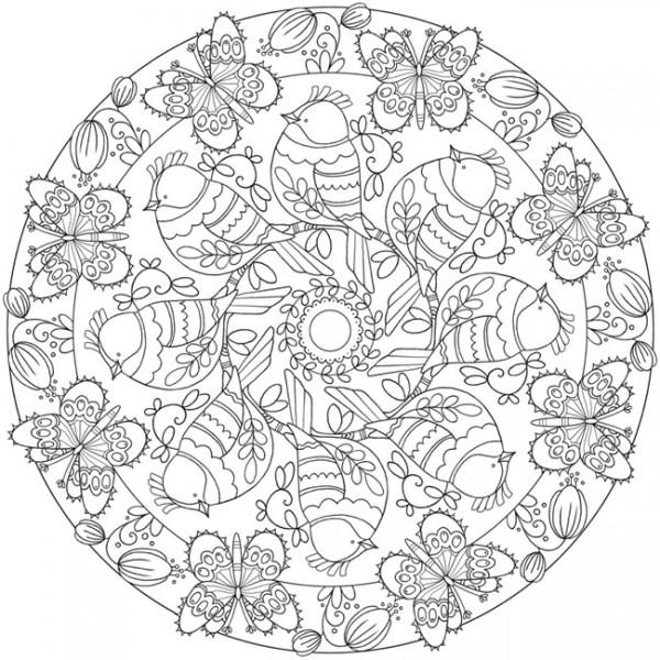 Download Spring Mandala Coloring Page Stamping