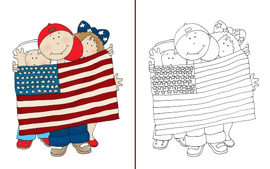 Download: 4th of July Kids Digital Stamp