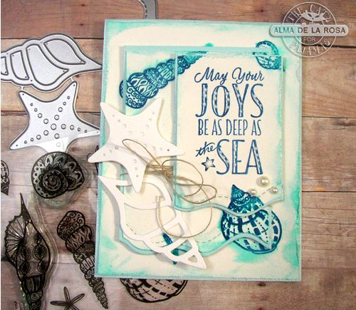Project Seashell Card with Multiple Stamping Techniques