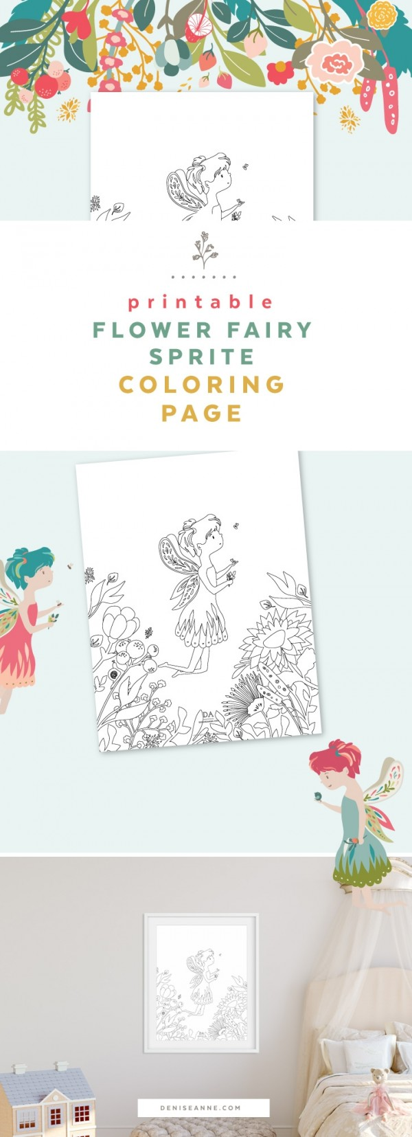 Printable: Flower Fairy Coloring Page