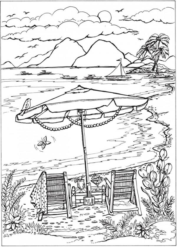 Download: Beach Scene Coloring Page