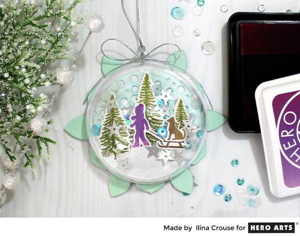 Project Clear Holiday Ornament with Stamped Scene Inside