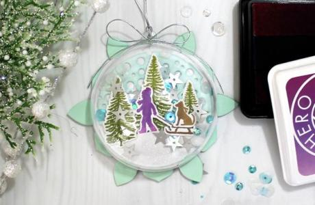 Project: Clear Holiday Ornament with Stamped Scene Inside