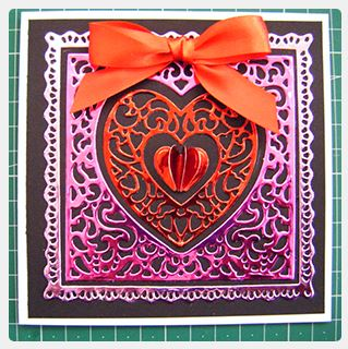 Project: Metallic Valentine Card with 3D Mini Heart Embellishment