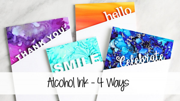 4 Different Card Backgrounds with Alcohol Inks