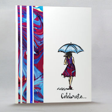 Card with Nail Polish Marbling