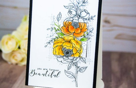 Floral Card with Selective Coloring