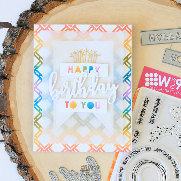 Customized Rainbow Stamped Card