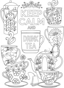 Keep Calm and Drink Tea Coloring Page