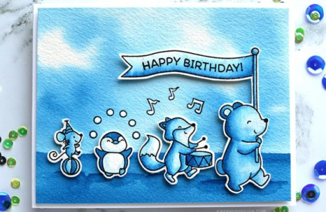 One Color Card – Blue Animal Parade