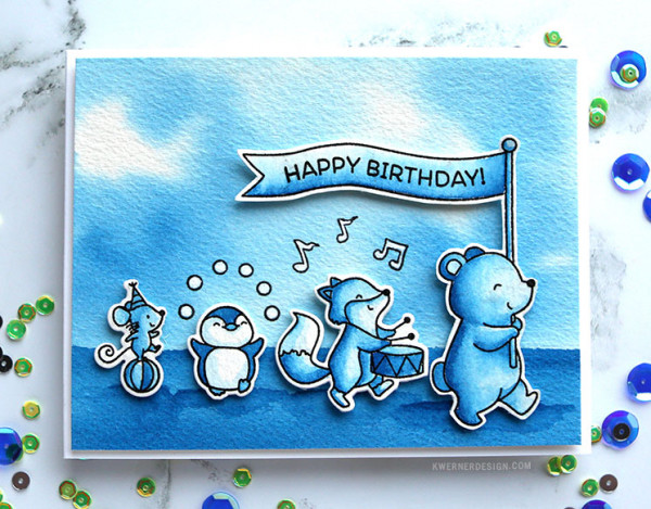 One Color Card - Blue Animal Parade