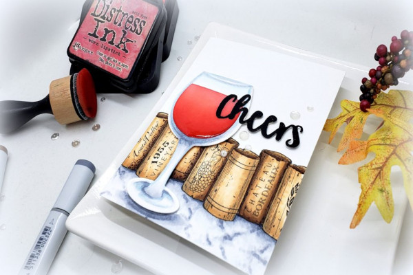 Wine Card with Copics