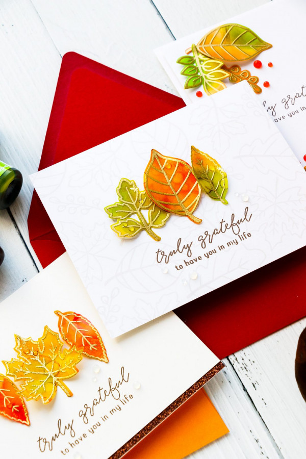 Fall Leaves Cards with Alcohol Inks